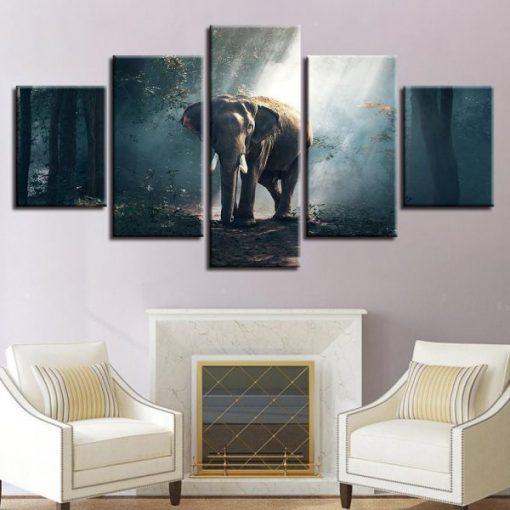 4222020-CVdraft7 African Forest Elephant 5 Piece Canvas Art Wall Decor - Canvas Prints Artwork