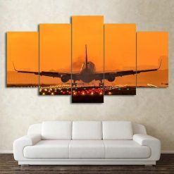 4222020-CV-80 Airplane With Colorful Runway In Sunset 5 Piece Canvas Art Wall Decor - Canvas Prints Artwork