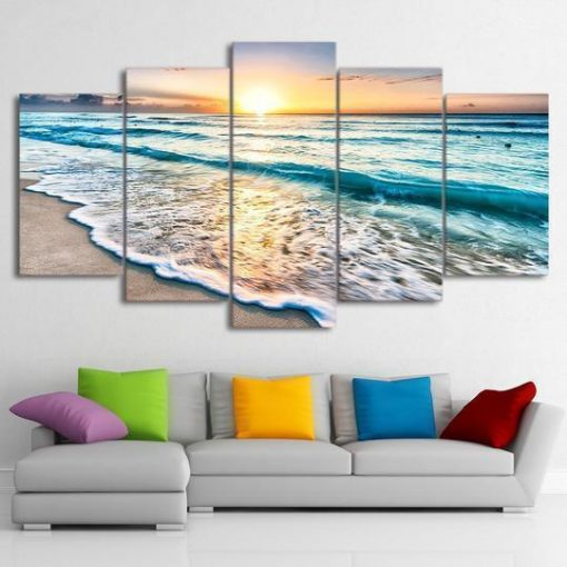 4222020-CV-62 Beach Sunrise Ocean 5 Piece Canvas Art Wall Decor - Canvas Prints Artwork