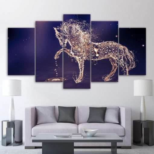 4222020-CV-8 Beautiful Horse From The Water 5 Piece Canvas Art Wall Decor - Canvas Prints Artwork