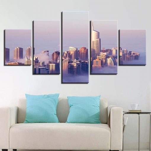 4222020-CV-44 City In The Sky Cloud 5 Piece Canvas Art Wall Decor - Canvas Prints Artwork