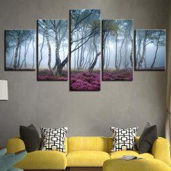 4222020-CV-71 Foggy Forest Trees 5 Piece Canvas Art Wall Decor - Canvas Prints Artwork