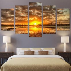 4222020-CV-53 Sunrise Morning Landscape 5 Piece Canvas Art Wall Decor - Canvas Prints Artwork